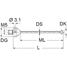 Renishaw, M5 Ø1.35 mm ruby ball, tungsten carbide stem, L 33 mm, ML 24 mm, long thread, for Zeiss applications, A-5555-0799