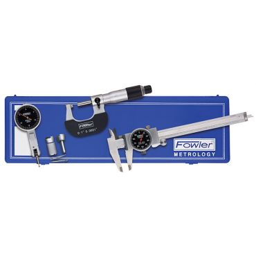 Fowler, Blackface Caliper, Micrometer and Test Indicator Measuring Set, 52-229-770-0