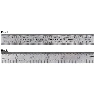 "Fowler, 12"" 5R Rigid Steel Rule, 52-340-012-0"