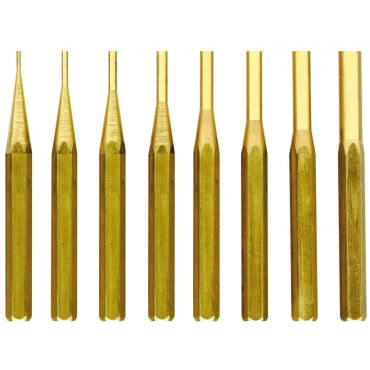 Fowler, 8 Brass Drive Pin Punch Set, 52-500-068-0