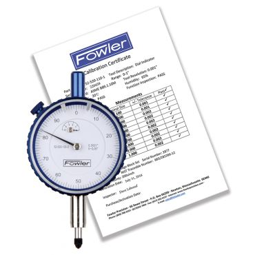 "Fowler, 0.250"" Whiteface Premium Dial Indicator with Certificate of Calibration, 52-520-125-0"