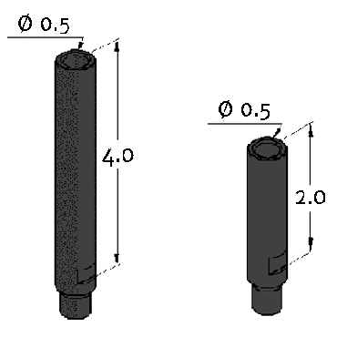 Inspection Arsenal, Modular Tower System – Posts - Inch, ½ inch diameter steel post 2 inch, MT-POST-2